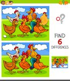 Finding Differences Game With Hens And Roosters Stock Photo