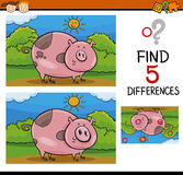 Finding differences task. Cartoon Illustration of Finding Differences Educational Task for Preschool Children with Pig Farm Animal Character Royalty Free Stock Photography