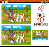 Finding differences task for kids. Cartoon Illustration of Differences Task for Preschool Children with Dogs Animal Characters Royalty Free Stock Photography