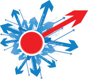 Finding a direction. Blue directions with one red arrow coming out Stock Photo