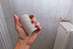 Finding empty roll in the restroom Stock Image