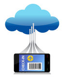 Finding flight using a smartphone connected. To a cloud. Illustration Royalty Free Stock Images