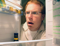 Finding in the fridge stock image