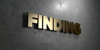 Finding - Gold sign mounted on glossy marble wall  - 3D rendered royalty free stock illustration Royalty Free Stock Photo