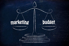 Finding a good balance in business: marketing & budget values Royalty Free Stock Images