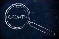 Finding growth in business. Magnifying glass seeking growth in business Royalty Free Stock Photography