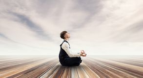 Finding his inner balance stock images