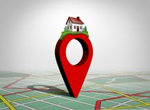 Finding A Home. And find property concept as a pin with a family house as a real estate buying or locating a residence symbol as a 3D illustration Royalty Free Stock Photo