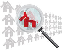 Finding Home with Magnifying Glass. Concept Vector Royalty Free Stock Image