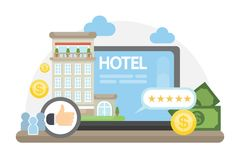 Finding hotel online. Finding hotel online with reviews and prices Stock Photos