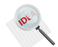 Finding Idea with Magnifying Glass Concept Royalty Free Stock Image