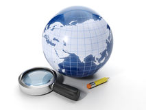 Finding information on the Internet. Earth and magnifying glass with a pencil Stock Photo