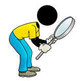 Finding job. Silhouette-man looking through his magnifying glass Royalty Free Stock Images
