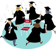 Finding a job after college. People with diplomas playing musical chairs with only one chair symbolizing scars jobs for new graduates, EPS 8 vector illustration Stock Photo