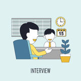 Finding job concept. Interview in line style Stock Images