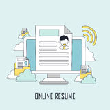 Finding job concept. Online resume in line style Royalty Free Stock Photo