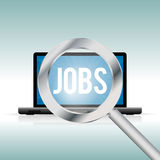 Finding Jobs Online. Vector illustration of laptop with a magnifier looking for jobs Stock Image