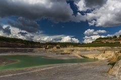 Finding location of the Mosasaurus and shelter place during the second world war in Maastricht. Old marl quarry in Maastricht which is converted into a public royalty free stock photography