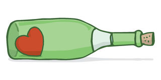 Finding love in an empty bottle. Cartoon illustration of red heart inside a wine bottle Royalty Free Stock Image