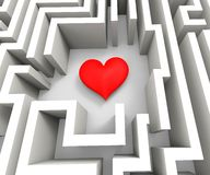 Finding Love Or Girlfriend Shows Heart In Maze. Finding Love Girlfriend And Romance Shows Heart In Maze Stock Images
