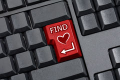 Finding Love Key Empty Computer Keyboard Stock Photography