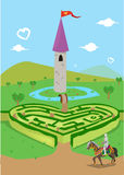 Finding Love in the Kingdom of Hearts concept. Valentines day theme. Editable Clip Art. Stock Photography