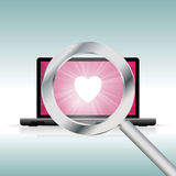 Finding Love Online. Vector illustration of laptop with a magnifier looking for love Stock Photos