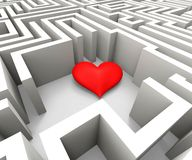 Finding Love Shows Heart In Maze. Finding Love And Romance Shows Heart In Maze Royalty Free Stock Photo