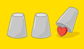 Finding love under cup and heart game. Cartoon illustration of heart or love hiding under cup game Stock Photography