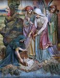 Finding of Moses. Altarpiece on altar of Our Lady in the church of Saint Matthew in Stitar, Croatia Stock Image