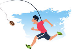 Finding motivation to work out. Man running after a doughnut, dangling from a fishing rod in front of his face Royalty Free Stock Images