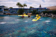 Finding Nemo Submarine Voyage at Disneyland, California. Beautiful view of the blue lagoon with bright yellow submarines of the Finding Nemo Submarine Voyage at Stock Photos