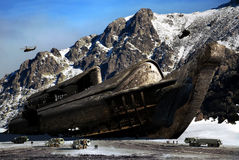 Finding Noah's Ark. Near the summit of  a mountain, the global warming provoked the thaw of a glacier, revealing the presence of a gigantic ship identified as Royalty Free Stock Photo