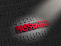 Finding A Password in the Data. A spotlight illuminates bold, red PASSWORD on a dark background of computer code Stock Image