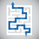 Finding a Path. Maze completion concept illustration Stock Photo