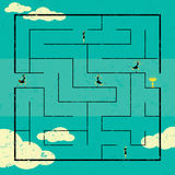 Finding the Path to Success. Businesswomen navigating a path to success through a maze. The women are on a separate labeled layer from the background Stock Photo
