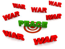 Finding peace. In war and turmoil, peace word on target circle in green text surrounded by war words in red, white background Stock Photography