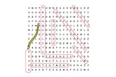 Finding peace word search puzzle. With red pencil and associated words Royalty Free Stock Photo