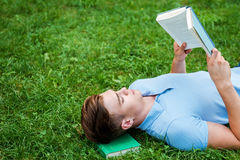 Finding a peaceful place to read. Stock Photography