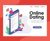 Finding People online Dating Sites Process Isometric Artwork Concept royalty free illustration