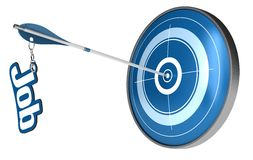 Finding perfect job career concept. Blue target and an arrow hitting the center, the arrow have the word job attached the image is isolated over a white Stock Photo