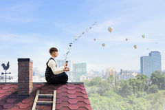 Finding place for isolation . Mixed media Royalty Free Stock Photography