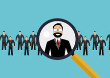 Finding professional staff with magnifying glass. Vector illustration of finding professional staff with magnifying glass. Concept of Hiring, recruitment Royalty Free Stock Image