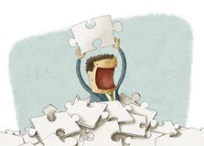 Finding puzzle piece stock illustration