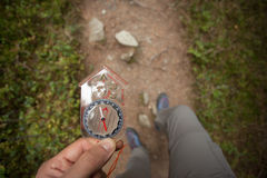 Finding the right position in the forest with and compass Stock Images