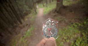 Finding the right position in the forest with and compass Stock Image
