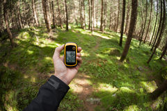 Finding the right position in the forest via gps Royalty Free Stock Photo