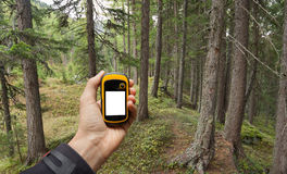 Finding  the right position in the forest via gps Royalty Free Stock Photography