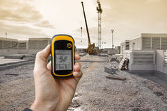 Finding the right position inside a construction site via gps Royalty Free Stock Image