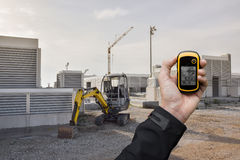 Finding the right position inside a construction site via gps Royalty Free Stock Photography